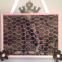 Camouflage light pink Bow photo jewelry organizer holder bulletin memo board handmade kanzashi flower embellished in green and brown