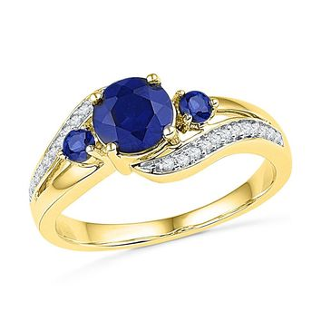 10kt Yellow Gold Womens Round Lab-Created Blue Sapphire 3-stone Diamond Ring 1-1/10 Cttw