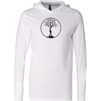 Yoga Clothing For You Black Tree of Life Circle Lightweight Yoga Hoodie Tee