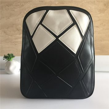 Fashion Women PU Leather Backpack Teenager Girls Soft School Bags Student Casual Book Bag Schoolbag Black White Patchwork Design
