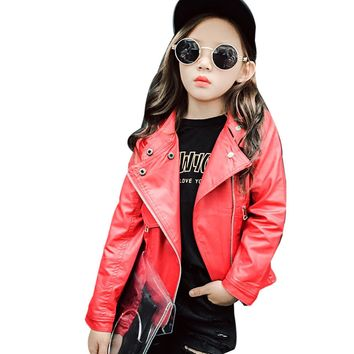 Girls Faux Leather Red & Black Jacket