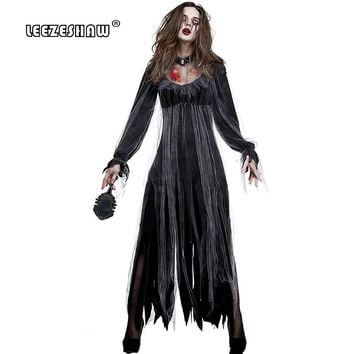 Leezeshaw High Quality New Halloween Ghost Festival Goth Costume Women's Adult Fancy Dress+Neck Zombie Play Costume Spooky Bride