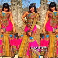 Dashiki Maxi Dress Dashiki Dress | Pink
