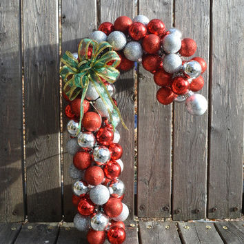 Peppermint Stick Holiday Wreath,  Candy Cane Christmas Ornament, Holiday Decor, Front Door Accent, Hostess Gift, Candy Cane Decoration