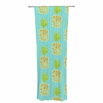 "Noonday Design ""Heart Pineapples"" Yellow Teal Painting Decorative Sheer Curtain"
