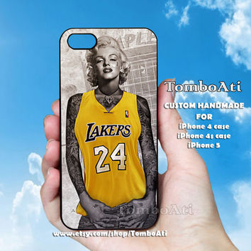 LA Lakers Marilyn Monroe Tattooed - Print on Hard Cover For iPhone 4/4S and iPhone 5 Case