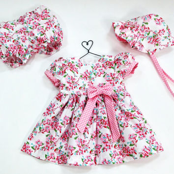 3 to 6 month baby dress summer outfit infant set with baby bonnet & baby bloomers summer dress floral dress pink dress baby shower new baby
