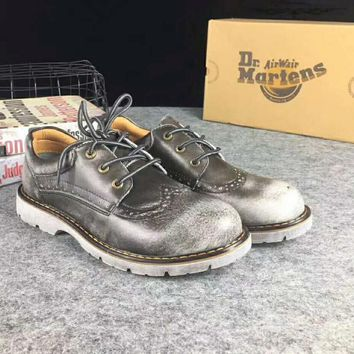 Hot Deal On Sale Crust Platform Shoes England Style Vintage Shoes Round-toe Dr. Martens Boots Silver grey I-XYXY-FTQ