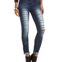Destroyed High-Waisted Skinny Jeans - Med Destroy Denim