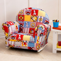 KidKraft Upholstered Rocker with Slip Cover - Firefighter Patchwork - 18687