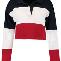 Mia Colour Block Rugby Crop Top | Boohoo