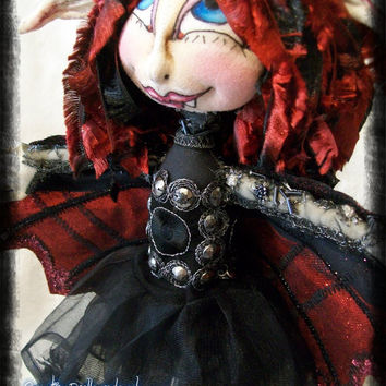 "Vampire Halloween Pixie  13"" Soft Sculptured Cloth Art Doll    Ruby"