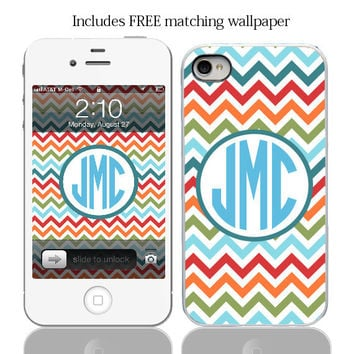 Colorful Chevron Monogram Case for iPhone 4, iPhone 4s and iPhone 5 models and comes with a Free Matching Wallpaper