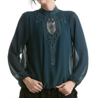 Green Gothic Blouse with Guipure | Crazyinlove International