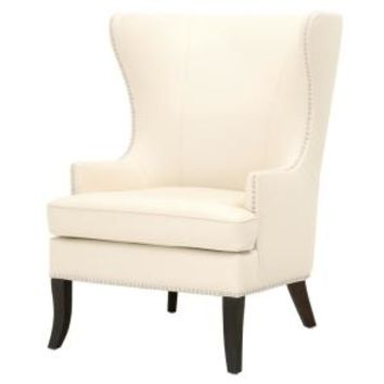 Home Decorators Collection Moore Ivory Bonded Leather Wing Back Accent Chair 1338800440 - The Home Depot