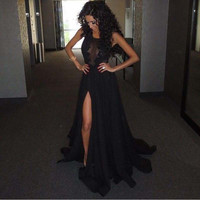 Vestidos De Baile 2016 Prom Dresses Fast Shipping Long Black Lace Prom Dress Fringe Dresses Plus Size