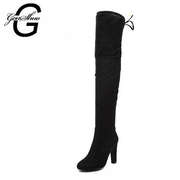GENSHUO Women Stretch Faux Suede Slim Thigh High Boots Sexy Fashion Over the Knee Boots High Heels Woman Shoes Black