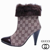 GUCCI Fashion Pointed Toe Stiletto Leather High Heels Shoes
