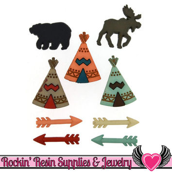Jesse James Buttons 9 pc Little Man Cave Teepee, Arrows, Moose & Bear Buttons