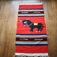 1970s Vintage Red Donkey Small Sized Mexican Saltillo Novelty Blanket – Vanguard Vintage Clothing