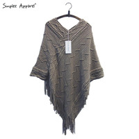 BeAvant batwing sleeve tassel hem knitting cloak sweater 2015 women fall fashion tricot cape poncho Autumn winter jumper