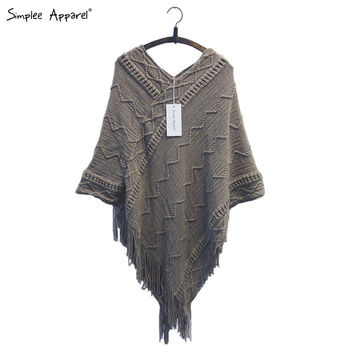 sleeve tassel hem knitting cloak sweater 2015 women fall fashion tricot cape poncho Autumn winter jumper