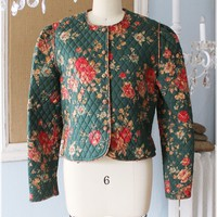 Vintage 1980s Sweet Roses + Greenbriar Patten Quilted Jacket