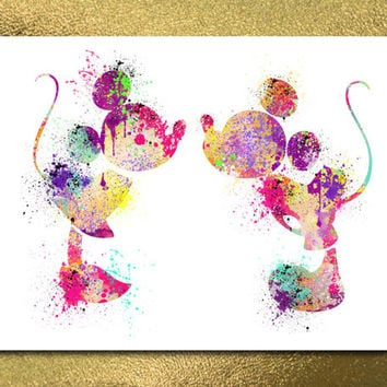 Mickey and Minnie, INSTANT DOWNLOAD, Watercolor Print, Digital Print, Digital Poster, Disney Poster, Disney Art