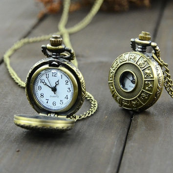 New Fashion Vintage Bronze Steampunk Quartz Necklace Chain Clock Pocket Watch Chinese Zodiac