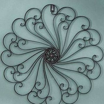 Black Antiqued Finish  Iron Wall Medallion Scrolled Patio Wall Art Home Decor