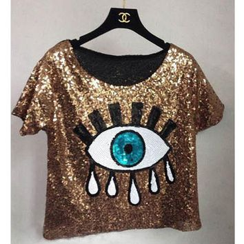 CREYET7 womens tops fashion 2016 New crop tops loose summer short tops Sequins Big Eyes sexy Sequined eyes T-shirt casual Free Shipping