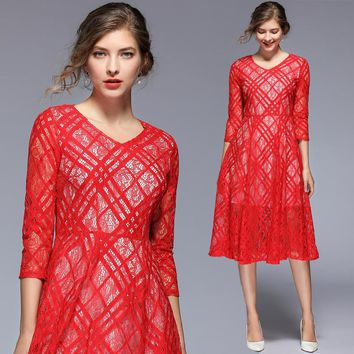 Women's hollow Out Sexy Elegant O-Neck 3/4 Sleeve Floral Lace Swing Midi Party Dress vestidos verano 2019