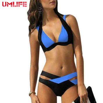 2018 Sexy Bikini Set Women Swimsuits Swim Push Up Swimwear Women Cross Double Halter Swim Bathing Suit maillot de bain plus size