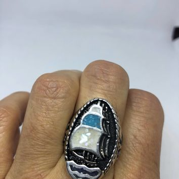 Vintage Southwestern Mother of Pearl turquoise inlay ship Men's Ring
