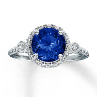 Lab-Created Sapphire Ring Round-Cut Sterling Silver