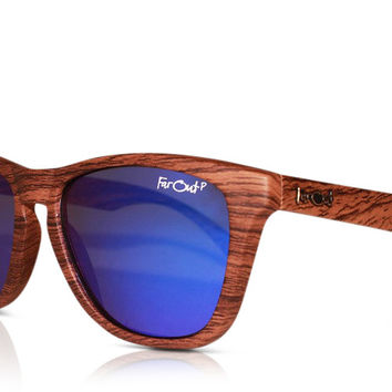 Wood Grain Polarized Blue Lens