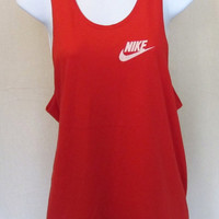 Vintage Super Soft 80s NIKE BLUE TAG Swoosh Summer Beach Athletic Work Out Gym Small Medium 50/50 Tank Top