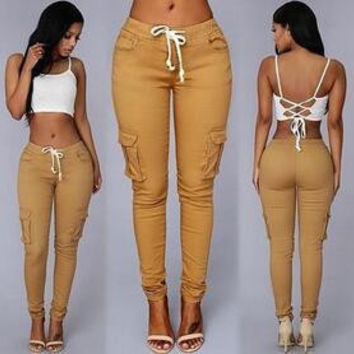 VIP Summer Casual Multi Pocket Pants High Waist Solid Lacing White Red Army Khaki Shiny Pencil Pants Capris Women Trousers hight quality free sh