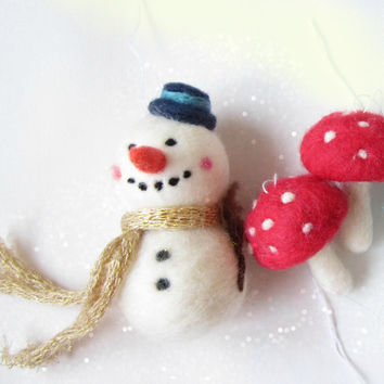 Christmas ornament, Snowman Ornament, Needle felted snowman, Needle felted Christmas Ornament