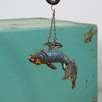 Cloisonne Articulated Fish Pendant Vintage Gold Washed Silver Filigree Butterfly Koi