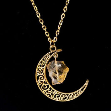 Sailor Moon Necklace ~Sun And Moon ~60cm Natural Stone Crystal Amethyst Tourmaline Necklace  2