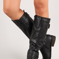 Side Buckle Round Toe Knee High Riding Boot