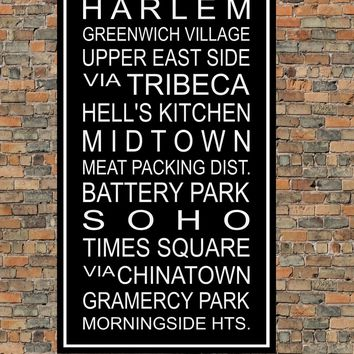 New York City Subway Sign Print - Harlem, Central Park, Battery Park, Soho, Chinatown, Tribeca