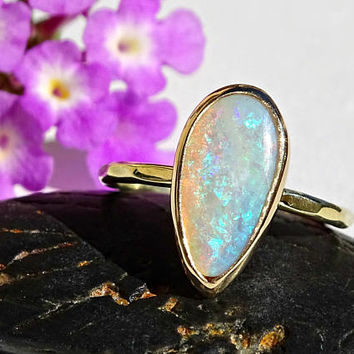 opal engagement ring gold opal ring, unique wedding ring Australian opal, luxurious opal ring gold promise ring, hammered gold ring opal