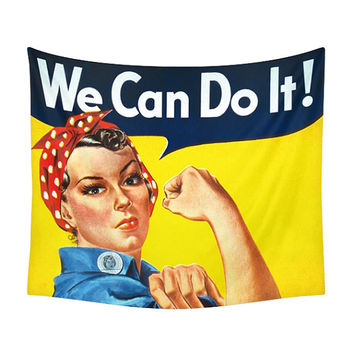 We Can Do It! Tapestry, Artistic Print, Wall Tapestries, Rosie the Riveter, World War II, Worker Portrait, American Print, Yellow Famous Art