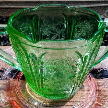 Jeannette Vaseline Green Depression Era Cherry Blossom Glass Sugar Bowl Double Handle.