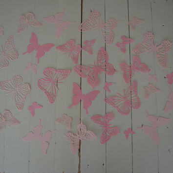 Custom order for Rachel Dilley--- 3D paper butterfly wall art from cardstock in 2 pink shades --- Just let them fly around in your nursery