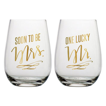 "SLANT COLLECTIONS ""SOON TO BE MRS,ONE LUCKY MR"" STEMLESS WINE GLASS SET OF 2"