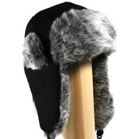 My Associates Store - Extra Thick Super Soft Wool Trooper Trapper Pilot aviator Hat with Soft Faux Fur for Women and Mens one size fits up to large head in Black and Grey