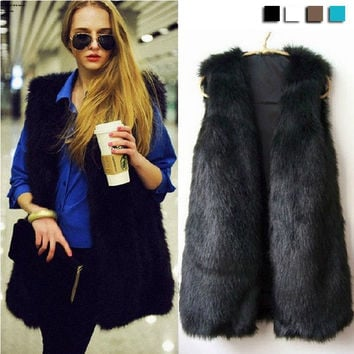 Women Faux Fur Vest Winter Warm Coat Outwear Sleeveless Jacket Hair Waistcoat F_B 18820 = 1930050628